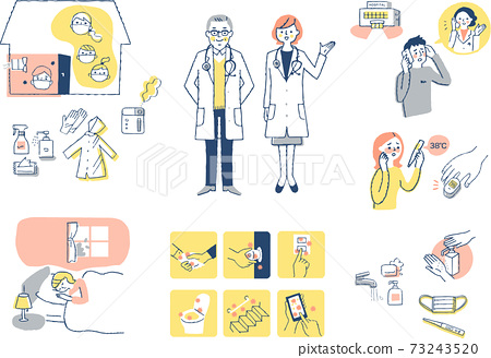 Infectious disease preventive measures home medical treatment image set 73243520