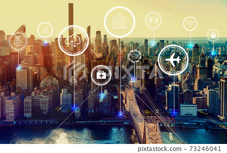 Smart city concept with New York City 73246041