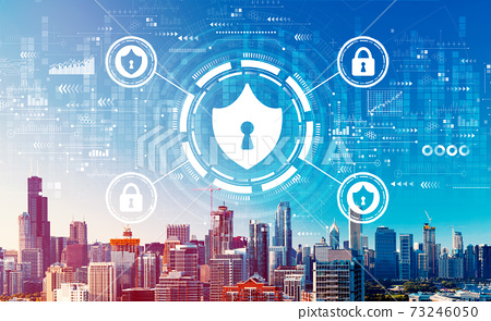 Cyber security theme with downtown Chicago cityscape 73246050