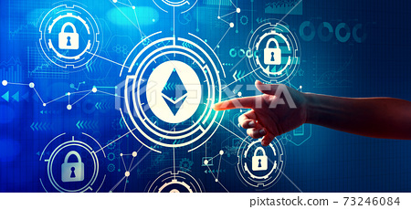 Ethereum security theme with hand pressing a button 73246084