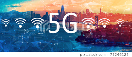 5G network with the Bay Bridge in San Francisco 73246125