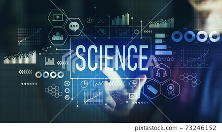 Science with young man pointing 73246152