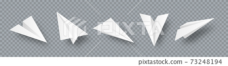 Realistic handmade paper planes collection on transparent background. Origami aircraft in flat style 73248194
