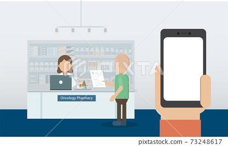 Blank screen mobile phone with oncology pharmacy 73248617
