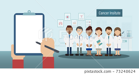 Blank screen notepad in cancer institute 73248624