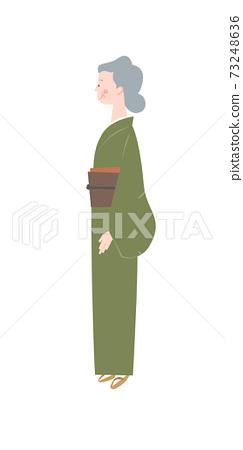 기모노의 나이 많은 여자 73248636