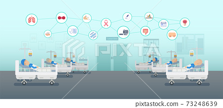 Chemotherapy room with icons 73248639