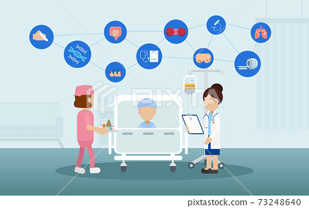 Chemotherapy room with icons 73248640