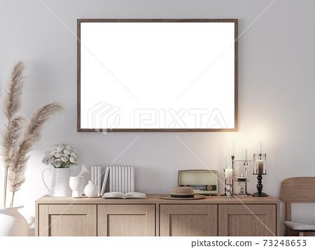 Vintage style blank picture frame 3d render 73248653