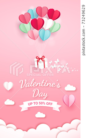 Gift box with balloon on sky paper cut style. Valentines day card background. 73249629