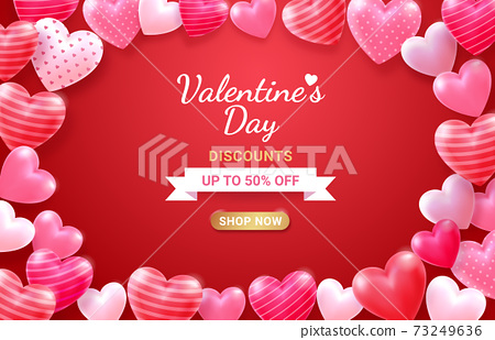 Valentine's day card with Heart 3D and ribbon background. 73249636