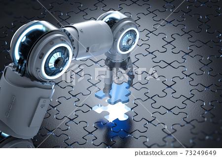 robot filling piece of jigsaw 73249649