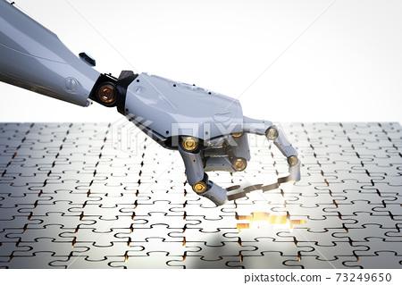 robot filling piece of jigsaw 73249650