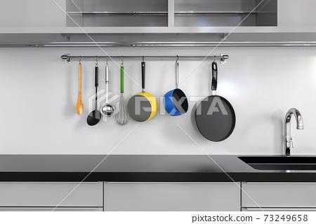 kitchen rack with utensils 73249658