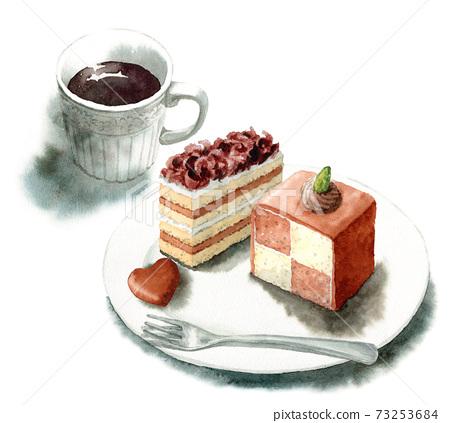 兩種類型的模擬水彩巧克力蛋糕和咖啡 73253684