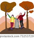[矢量]一對夫婦在秋天攀爬後擺在頂部的插圖 73253729