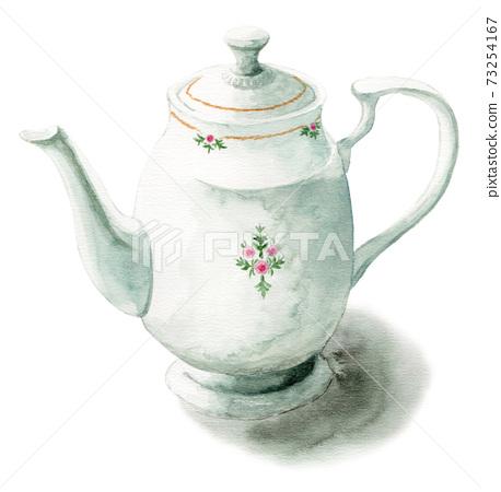 模擬水彩瓷茶壺 73254167