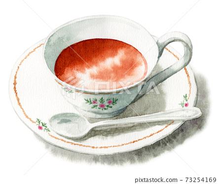 茶倒入模擬水彩茶杯 73254169