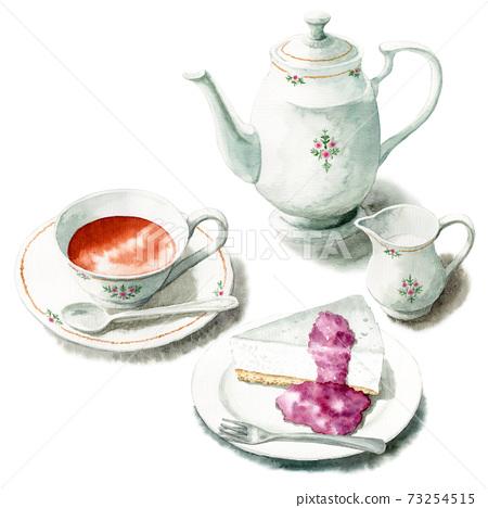 模擬水彩蛋糕套裝稀有的芝士蛋糕和茶 73254515