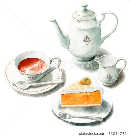 模擬水彩蛋糕套裝茶和南瓜t 73254773