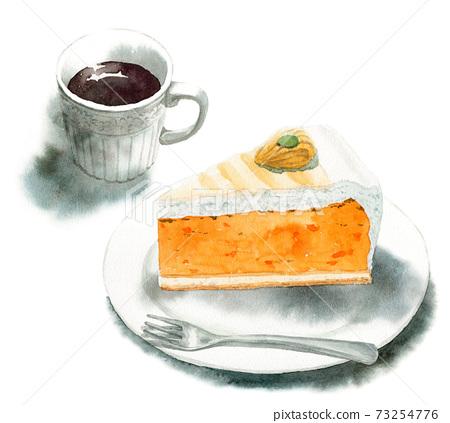 아날로그 수채화 케이크 세트 호박 타르트와 커피 73254776