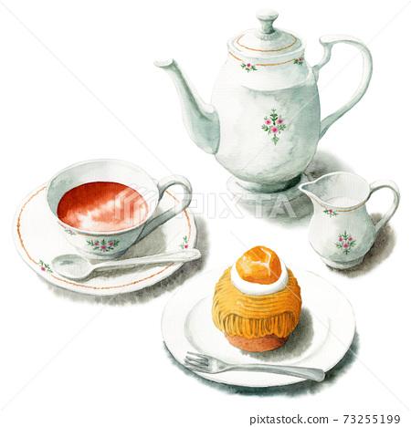 아날로그 수채화 케이크 세트 커피와 몽블랑 73255199