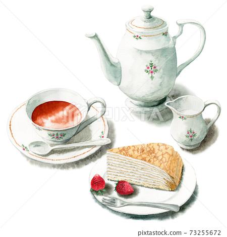 아날로그 수채화 케이크 세트 커피 밀 크레페 73255672