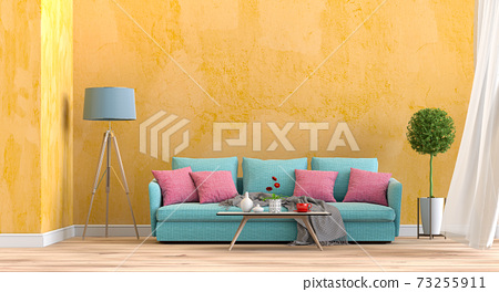 interior living room wall concrete with sofa, plant, lamp, decoration, 3D render 73255911
