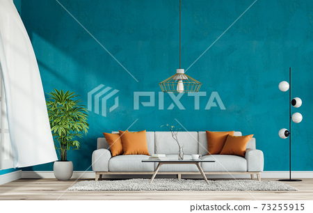 interior living room wall concrete with sofa, plant, lamp, decoration, 3D render 73255915