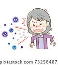 재채기를하는 노인 여성과 튀어 나오는 물보라 바이러스의 일러스트 73256487