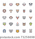 Icon set - Animal icon outline stroke with color vector illustration on white background 73256698