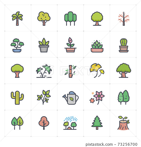 Icon set - Tree and Natural icon outline stroke with color vector illustration on white background 73256700