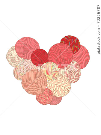 A heart made by collecting yarn balls 73256787