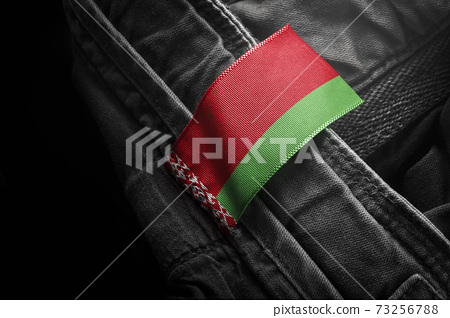 Tag on dark clothing in the form of the flag of the Belarus 73256788