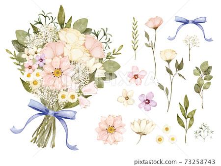 天然花束,水彩插圖,矢量素材 73258743