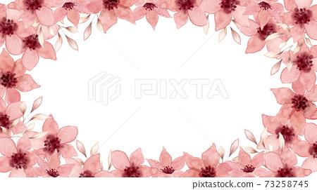 Pink flower watercolor illustration frame 73258745