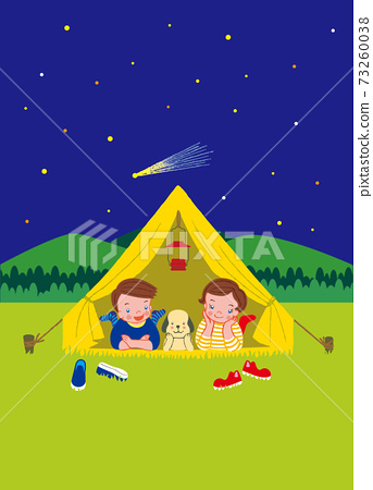 Boys, girls and dogs looking at the stars from the tent 73260038