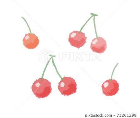 櫻桃,手繪櫻桃,水果,水果,可愛的水果的水彩風格插圖 73261299
