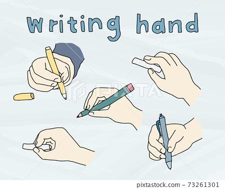 一組手繪插圖,您正在寫的手,畫線,一支時髦的鉛筆筆 73261301