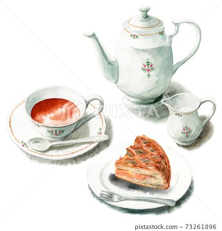 模擬水彩蛋糕套裝茶和蘋果派 73261896