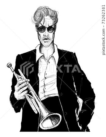 Jazz musician holding a trumpet 73262381