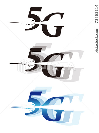 5G illustration characters that express a large capacity and a sense of speed (with variations) 73263114