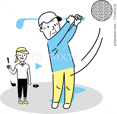 打高爾夫球的高級男人和女人 73266420