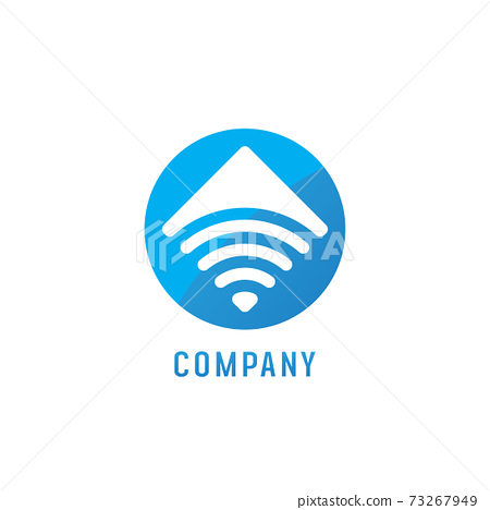 Wifi Signal Logo Design Template, Radio Signal Waves, Energy Waves, Antenna and Satellite Signal Symbols, Vector Element in Blue and White, Ellipse Rounded Logo Concept 73267949