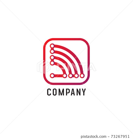 Wifi Signal Logo Design Template, Radio Signal Waves, Energy Waves, Antenna and Satellite Signal Symbols, White and Red Vector Element, Electrical Concept 73267951