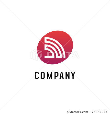 Wifi Signal Logo Design Template, Radio Signal Waves, Energy Waves, Antenna and Satellite Signal Symbols, White and Red Vector Element 73267953