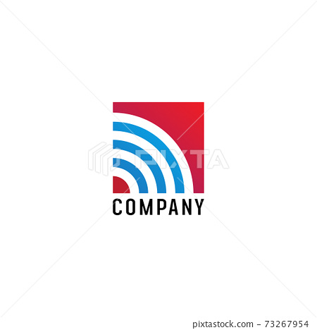 Wifi Signal Logo Design Template, Radio Signal Waves, Energy Waves, Antenna and Satellite Signal Symbols, Vector Element in Blue and Red 73267954
