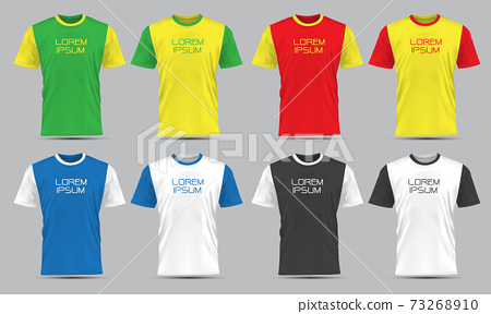 Realistic vector T-Shirt sport front view collection set with text on grey background illustration.  73268910