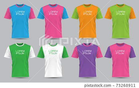 Realistic vector T-Shirt sport front view collection set with text on grey background illustration.  73268911