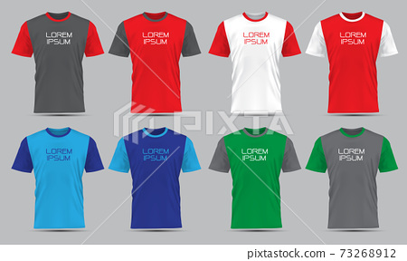 Realistic vector T-Shirt sport front view collection set with text on grey background illustration.  73268912